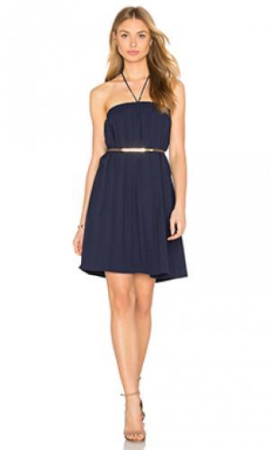 Льняное сеточное платье на бретельках Lucca Couture. Цвет: синий