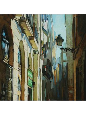 Art Холст Уличный фонарь 50х50 см DECORETTO. Цвет: голубой, зеленый, серый