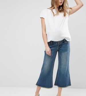 Bandia Широкие джинсы с необработанными краями и съемной вставкой для живота. Цвет: синий