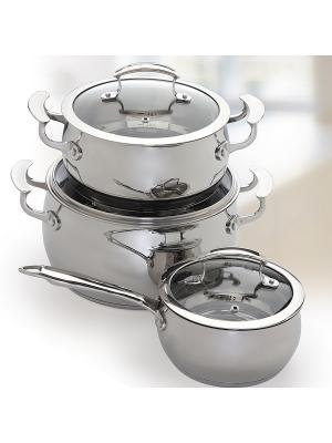 Набор посуды из нержавеющей стали, 6 предметов Augustin Welz. Цвет: серый