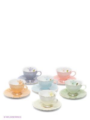 Кофейный набор Оро Лавацца Pavone. Цвет: светло-зеленый, светло-голубой, бледно-розовый