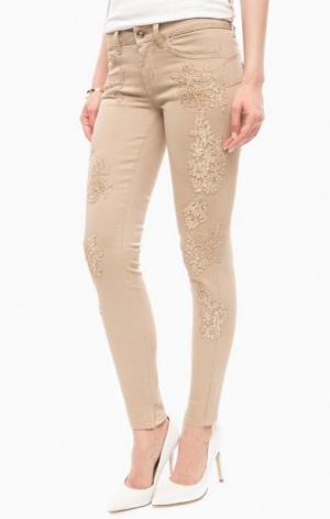 Бежевые зауженные джинсы с вышивкой Liu Jo Jeans. Цвет: цветочный принт