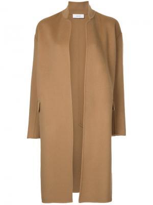 Строгое длинное пальто Astraet. Цвет: коричневый