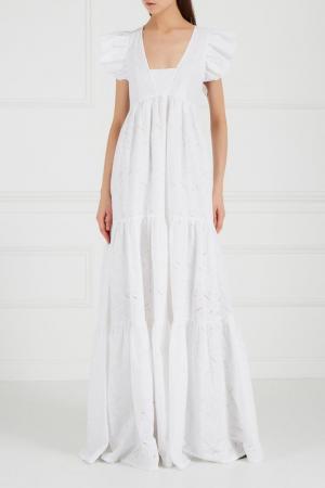 Белое платье-макси с воланами Ruban. Цвет: белый