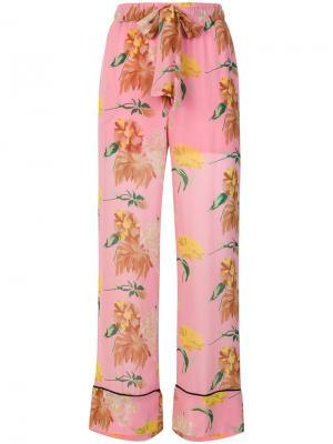 Брюки  с цветочной вышивкой Ganni. Цвет: розовый и фиолетовый