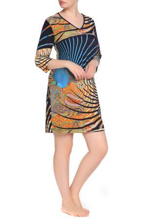 Платье домашнее LAVELLE. Цвет: темно-синий