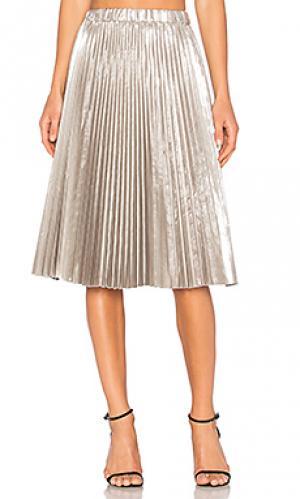 Плиссированная миди юбка No. 21. Цвет: металлический серебряный