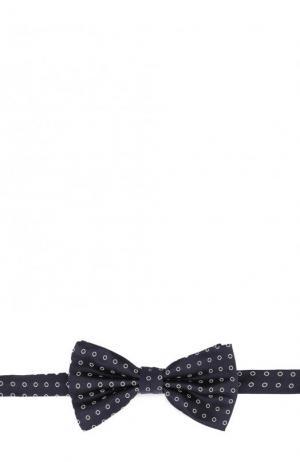 Шелковый галстук-бабочка с узором Canali. Цвет: темно-синий