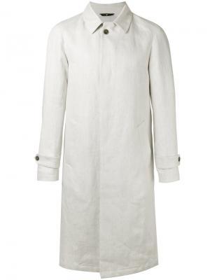 Однобортное пальто Hevo. Цвет: белый