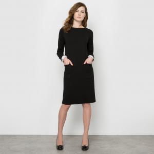 Платье-футляр из плотного трикотажа La Redoute Collections. Цвет: черный