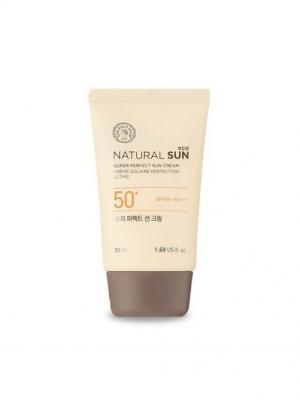 Идеальный солнцезащитный крем NATURAL SUN SPF50+ PA+++ , 50мл The Face Shop. Цвет: белый
