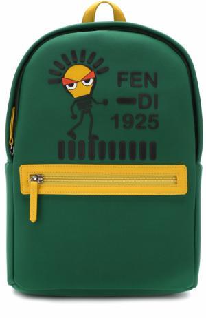 Текстильный рюкзак с принтом и кожаной отделкой Fendi Roma. Цвет: зеленый