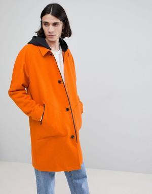 ASOS Оранжевый тренч с добавлением шерсти и трикотажным капюшоном. Цвет: оранжевый