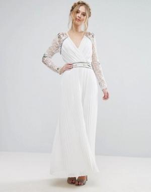 Frock and Frill Платье макси с запахом и отделкой на рукавах &. Цвет: белый