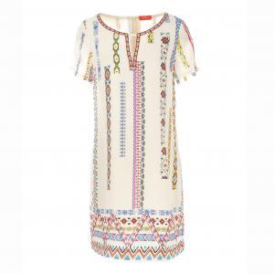 Платье с короткими рукавами, рисунком RENE DERHY. Цвет: черный,экрю