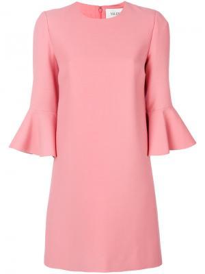 Платье с расклешенными рукавами Valentino. Цвет: розовый и фиолетовый