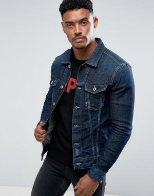 Replay Темная джинсовая куртка с рваной отделкой. Цвет: синий
