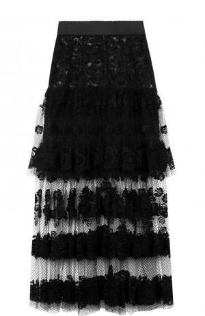 Двухъярусная кружевная юбка-макси Dolce & Gabbana. Цвет: черный