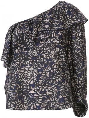 Блузка с узором на одно плечо Apiece Apart. Цвет: синий