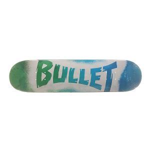 Дека для скейтборда  S6 Sprayed Blue 31.7 x 7.8 (19.8 см) Bullet. Цвет: зеленый,синий,белый