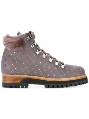 Декорированные ботинки на шнуровке Le Silla. Цвет: розовый и фиолетовый