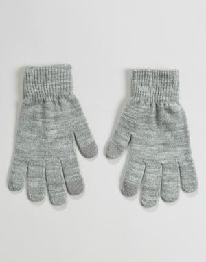Pieces Перчатки со вставками для пользования сенсорными экранами. Цвет: серый