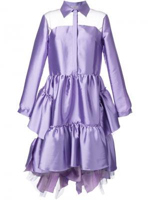 Объемное платье-рубашка Natasha Zinko. Цвет: розовый и фиолетовый