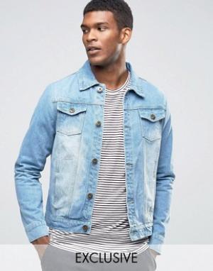 Liquor & Poker Классическая джинсовая куртка из стираного денима. Цвет: синий