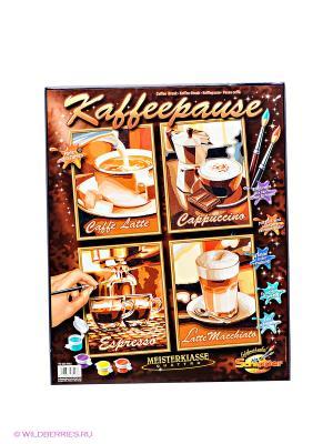 Раскраска по номерам Кофе 4 картинки Schipper. Цвет: коричневый