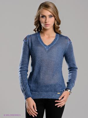 Пуловер miss money. Цвет: синий