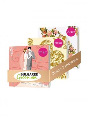 Набор Свадебный из 3 упаковок трехслойных салфеток с ярким принтом, 3х20шт Bulgaree Green. Цвет: розовый