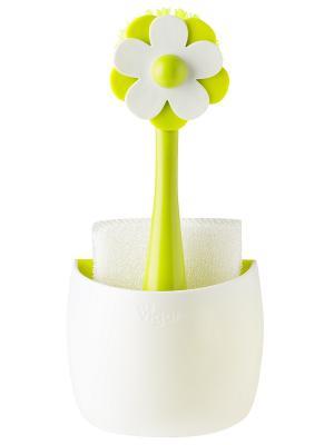Щетка для посуды и губка на подставке VIGAR. Цвет: белый, салатовый