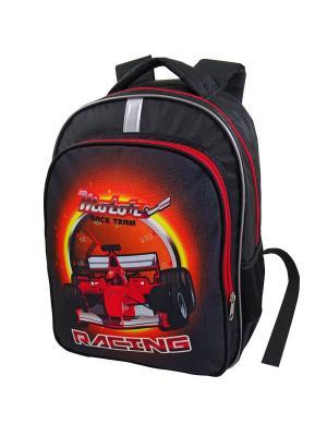 Портфель ученический Stelz. Цвет: черный, красный, оранжевый
