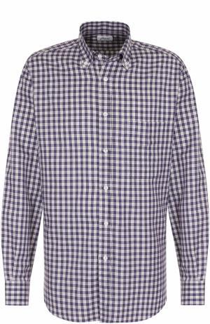 Хлопковая рубашка в клетку с воротником button down Brioni. Цвет: фиолетовый