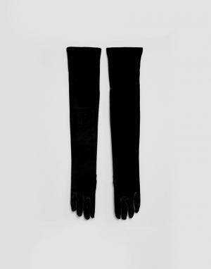 Leg Avenue Эластичные бархатные перчатки. Цвет: черный