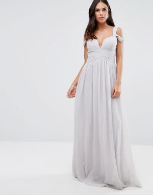 Forever Unique Платье макси с глубоким декольте и вырезами на плечах. Цвет: серый