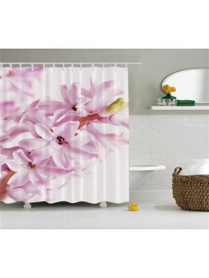 Фотоштора для ванной Вестники весны, 180*200 см Magic Lady. Цвет: розовый, белый, бледно-розовый, зеленый, молочный