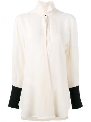 Блузка с контрастными манжетами Petar Petrov. Цвет: белый