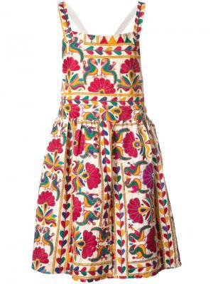 Плиссированное платье с цветочным принтом All Things Mochi. Цвет: многоцветный