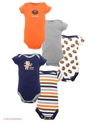 Боди, 5 шт Luvable Friends. Цвет: темно-синий, серый, оранжевый, белый
