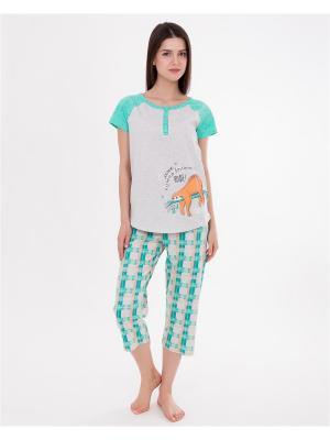 Комплект одежды: футболка, бриджи Mark Formelle. Цвет: бирюзовый, оранжевый, светло-серый
