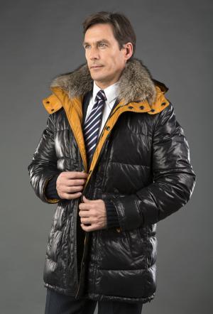 Мужской кожаный пуховик  темно-синий с желтой подкладкой AFG. Цвет: синий