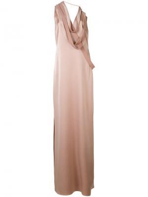 Платье с декором из лямок Halston Heritage. Цвет: телесный