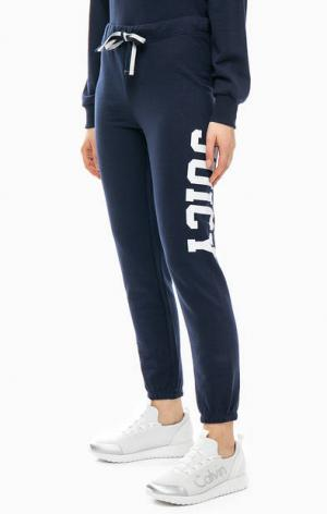 Хлопковые брюки джоггеры с принтом Juicy by Couture. Цвет: синий
