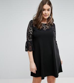 Praslin Короткое приталенное платье с кружевными рукавами. Цвет: черный