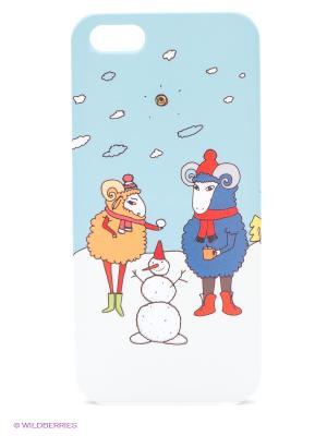 Чехол для IPhone 5 Семья овечек Mitya Veselkov. Цвет: голубой, красный