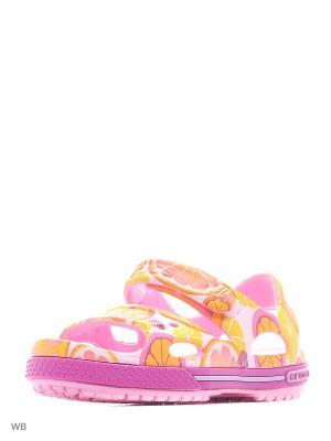 Сандалии CROCS. Цвет: оранжевый, розовый