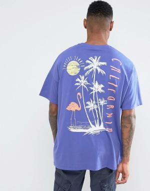 ASOS Фиолетовая оверсайз-футболка с принтом на спине. Цвет: фиолетовый