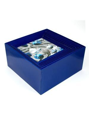 Комплект коробок из 17шт. Серебро Русские подарки. Цвет: синий