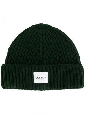 Ребристая вязаная шапка Dondup. Цвет: зелёный